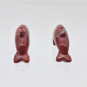 2 Carved Brecciated Jasper Jumping Dolphin Beads | 26x13.5x7.5mm | Red/Grey - PremiumBead