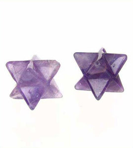 Kabbalah 2 Carved Amethyst Merkabah Star Beads 9288Am | 25x15x15mm | Purple - PremiumBead