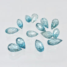Load image into Gallery viewer, Pair (2) Rare Natural Blue Zircon Faceted 9x4.5-8.2x4mm Briolette Beads 5095C - PremiumBead