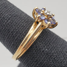 Load image into Gallery viewer, Tanzanite & Diamond Solid 10Kt Yellow Gold Flower Ring Size 7 9982F - PremiumBead Alternate Image 3