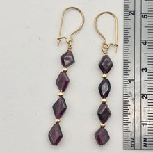 Load image into Gallery viewer, 14K Gold Filled Red Pyrope Garnet Earrings | 2 inches long | - PremiumBead Alternate Image 5