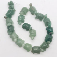 Load image into Gallery viewer, Charming 2 Carved Aventurine Turtle Beads | 21x12.5x8.5mm | Green - PremiumBead