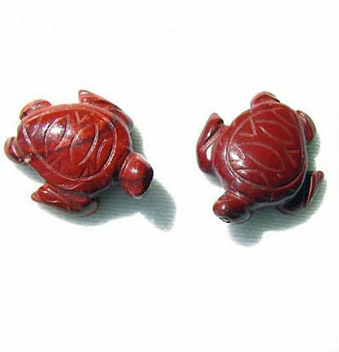Majestic Carved Brecciated Jasper (2) Sea Turtle Beads | 22x18.5x8mm | Red - PremiumBead