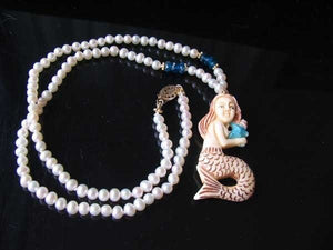 Splash Carved Mermaid Pearl & 14Kgf 18 inch Necklace 210311 - PremiumBead Primary Image 1