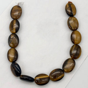 Wildly Exotic Tigereye Oval Coin Bead 16 inch Strand for Jewelry Making - PremiumBead