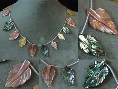 Abalone Pink and Golden Mother of Pearl Hand Carved Leaf Bead Strand 104321C - PremiumBead