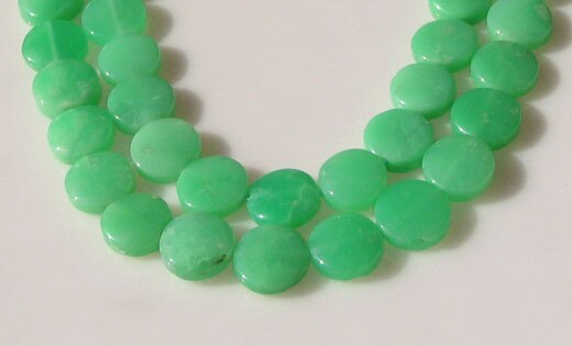 Radiant 2 Natural Chrysoprase Agate 12x5mm Coin Beads 9574A - PremiumBead