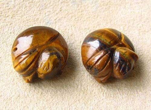 Cozy Kitty Cat 2 Carved Tigereye Cat Beads | 17x16x8mm | Golden Brown - PremiumBead