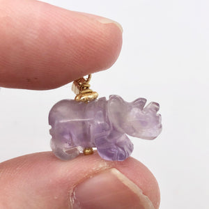 Hand Carved Rhino Amethyst Rhinoceros and 14k Gold Filled Pendant 509275AMLG - PremiumBead Alternate Image 5