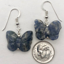 Load image into Gallery viewer, Flutter Carved Sodalite Butterfly Sterling Silver Earrings | 1 1/4 inch long | - PremiumBead