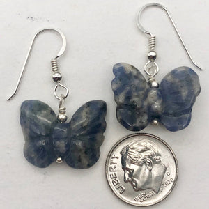 Flutter Carved Sodalite Butterfly Sterling Silver Earrings | 1 1/4 inch long | - PremiumBead Alternate Image 7