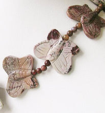 Load image into Gallery viewer, Carved 2 Apache Jasper Butterfly Beads | 30x23x7mm | Grey and brown - PremiumBead