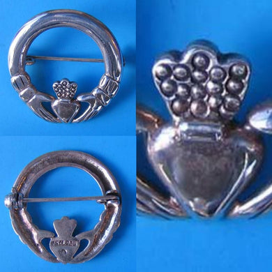 Love! Celtic Sterling Silver Claddagh Brooch Pin 10107 - PremiumBead