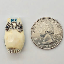 Load image into Gallery viewer, Wise Owl Carved Bone 25x15x10mm Bead 10746 | 25x15x10mm | Cream, Blue and Black - PremiumBead