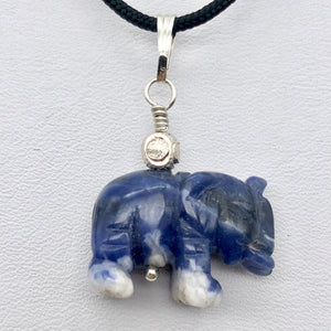 "Hand Carved Sodalite Elephant Sterling Silver Pendant | 21x16x8mm| 1 1/4"" long