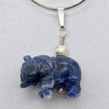 "Load image into Gallery viewer, Hand Carved Sodalite Elephant Sterling Silver Pendant | 21x16x8mm| 1 1/4"" long