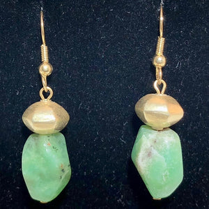 Chrysoprase and 22K Vermeil Earrings #300025 - PremiumBead Primary Image 1
