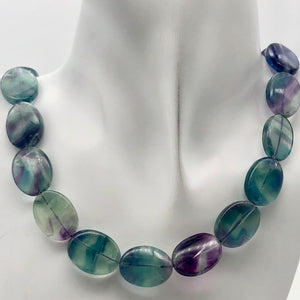 "Rare! Carved 20x15mm Oval Fluorite 8"" Bead Strand! - PremiumBead Alternate Image 7"
