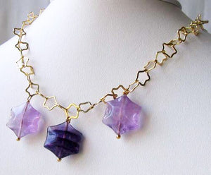 Natural Fluorite & 22K Vermeil Star 18 inch Necklace 209245Fl - PremiumBead Alternate Image 6