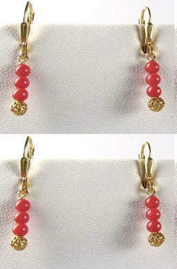 AAA Natural Ox Blood Red Coral Solid 14K Gold Earrings 302904C - PremiumBead Primary Image 1