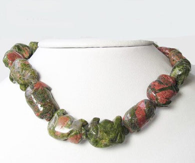 Piggies Hand Carved Unakite Pig Bead Strand | 23x16x11mm | Green with Pink - PremiumBead