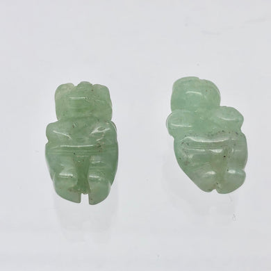 2 Carved Aventurine Goddess of Willendorf Beads | 20x9x7mm | Green - PremiumBead