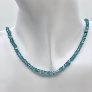 78.9cts Natural Blue Zircon 4x2.5-3x1.5mm Graduated Faceted Bead Strand 10845 - PremiumBead