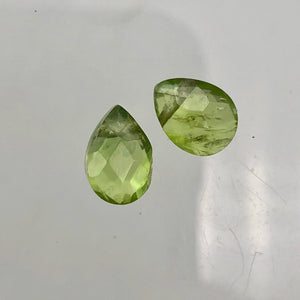 Peridot Faceted Briolette Beads Matched Pair | 2.4 cts each | Green | 9x6x5mm | - PremiumBead