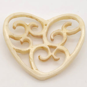 Delicate Carved Waterbuffalo Bone Heart Bead 10744 - PremiumBead