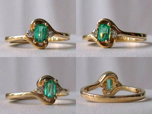 Emerald & White Diamonds Solid 14Kt Yellow Gold Solitaire Ring Size 6 3/4 9982Be - PremiumBead Primary Image 1