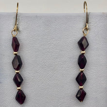 Load image into Gallery viewer, 14K Gold Filled Red Pyrope Garnet Earrings | 2 inches long | - PremiumBead Alternate Image 8