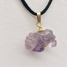 Load image into Gallery viewer, Hand Carved Rhino Amethyst Rhinoceros and 14k Gold Filled Pendant 509275AMLG - PremiumBead Primary Image 1