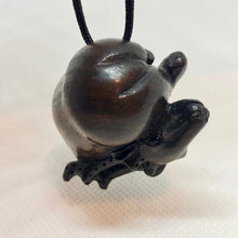 Load image into Gallery viewer, signed-carved-antelope-teak-ojime-netsuke-bead-1-9x1-5x1-1-dark-brown-12378