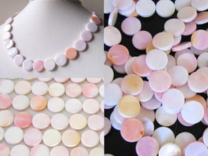 Rare Pink Conch Shell 14mm Coin Bead Strand 109828 - PremiumBead