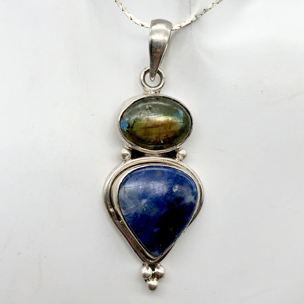 Exotic Labradorite, Blue Sodalite and Sterling Silver Pendant Necklace - PremiumBead