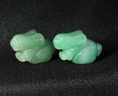 Hoppy 2 Hand Carved Natural Aventurine Bunny Rabbit Beads | 22x12x10m | Green - PremiumBead