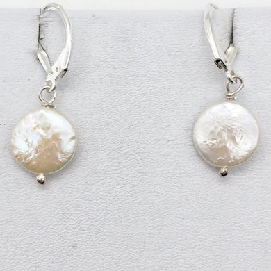 Stunning Creamy Coin Fresh Water Pearl Drop Earrings in Sterling Silver| 1 3/4