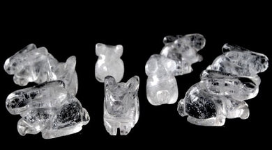 Hoppy 2 Carved Clear Quartz Bunny Rabbit Beads | 22x12x10m | Clear - PremiumBead