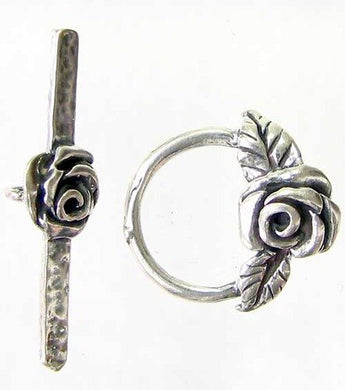 Flora Sterling Silver Rose Flower Toggle Clasp 003953 - PremiumBead