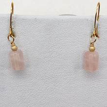 Load image into Gallery viewer, Madagascar Rose Quartz Tube Bead 14k Gold Filled Semi Precious Stone Earrings - PremiumBead Alternate Image 7