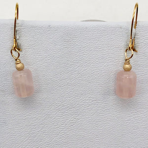 Madagascar Rose Quartz Tube Bead 14k Gold Filled Semi Precious Stone Earrings - PremiumBead Alternate Image 7