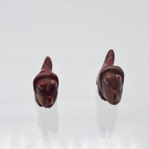Dinosaur 2 Carved Brecciated Jasper Triceratops Beads | 22x12x8mm | Red - PremiumBead