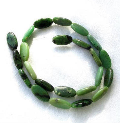 Shockingly Rare Chrysoprase Oval Bead 19x9x5mm Strand 108454 - PremiumBead