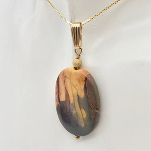 Ancient Forests Mookaite 30x20mm Oval 14k Gold Filled Pendant, 2 inches 506765B - PremiumBead Alternate Image 2