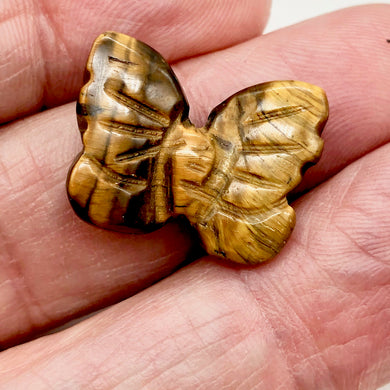 Fluttering Deep Tigereye Butterfly Figurine/Worry Stone | 21x18x7mm | Bronze - PremiumBead Primary Image 1