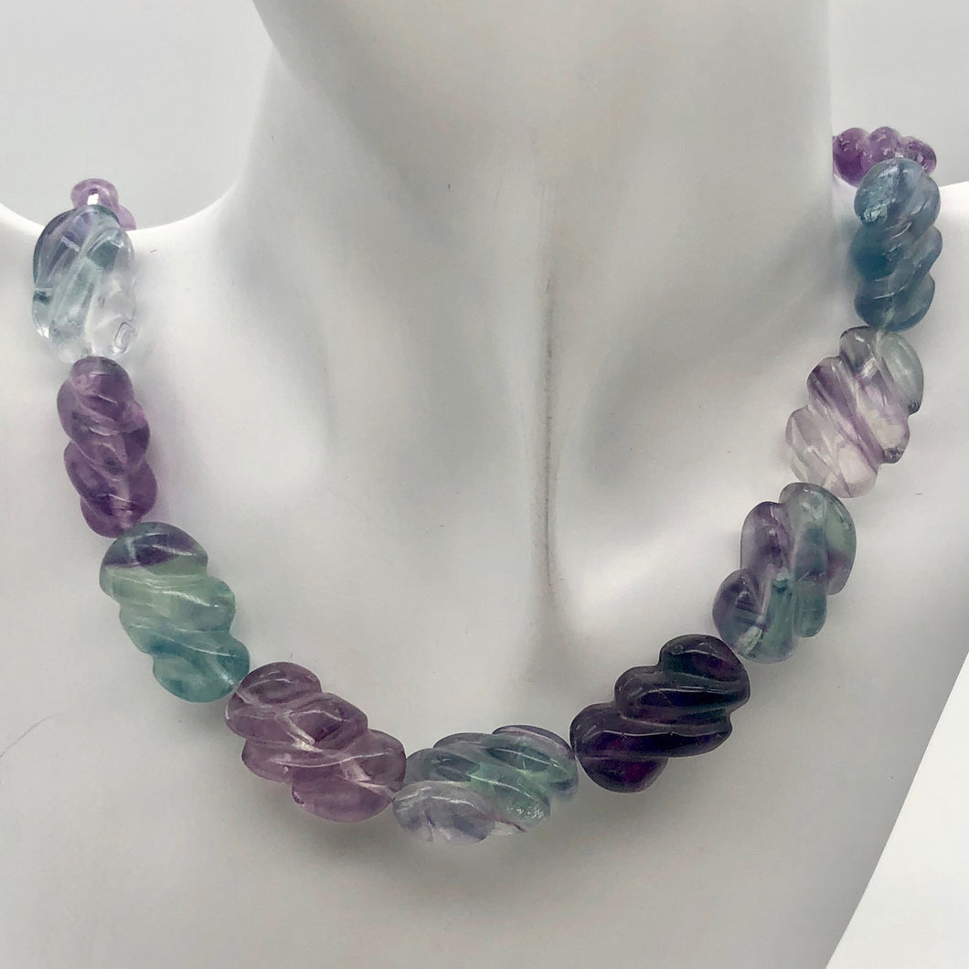 Magical! Carved Fluorite Oval Bead Strand - PremiumBead