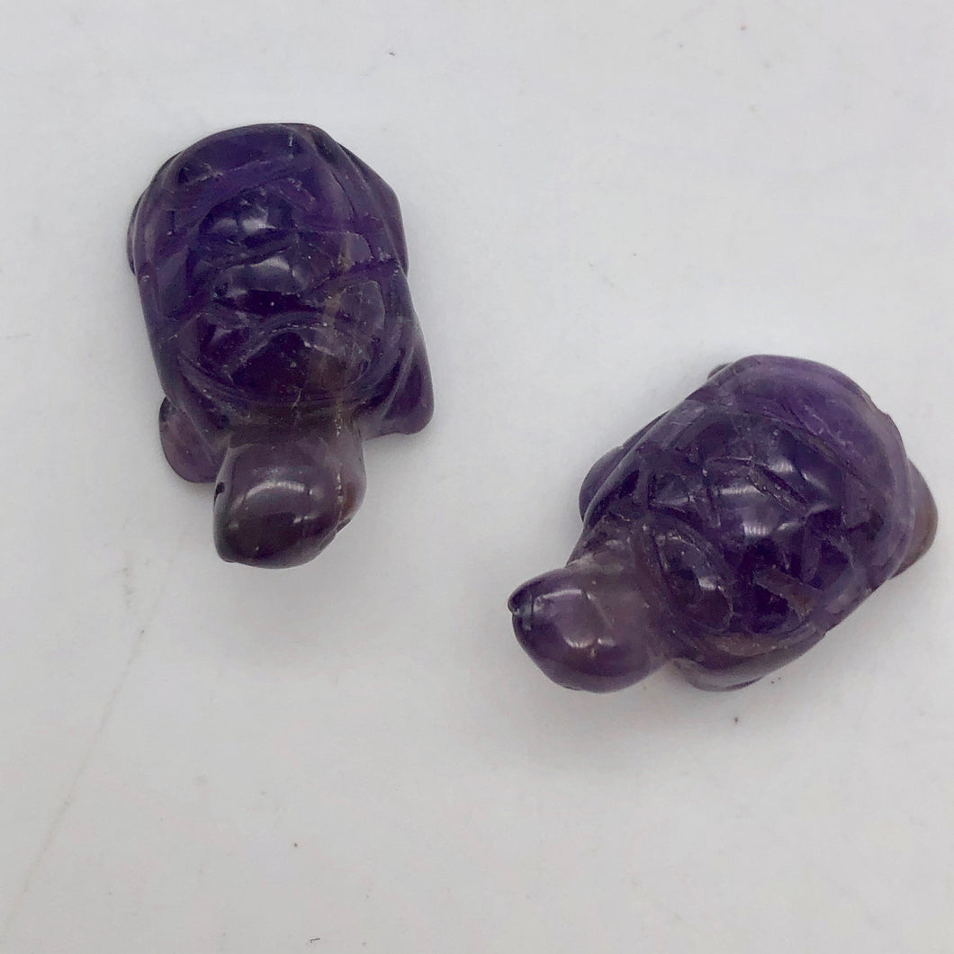 Charming 2 Carved Amethyst Turtle Beads | 22x12.5x9mm | Purple - PremiumBead