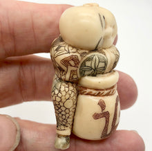 Load image into Gallery viewer, Scrimshaw carved Sleeping Asian Boy with Drum figurine - PremiumBead Alternate Image 8