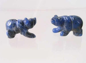 Roar! 2 Hand Carved Natural Sodalite Bear Beads | 13x18x7mm | Blue white - PremiumBead