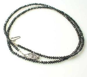 19.52cts Natural Black Diamond 18 inch Necklace 14K 10619 - PremiumBead